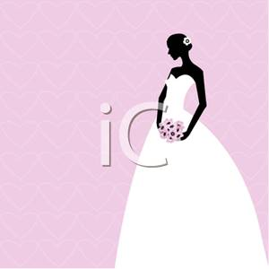 Silhouette Of A Bride In Her Wedding Dress Holding A Bouquet Clipart
