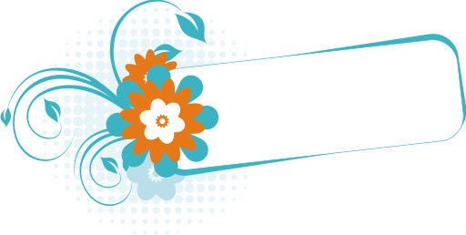 Turquoise Banner Vector Graphic   Swirls Flower Floral Frame