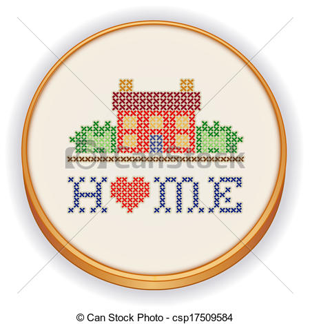 Vector Of Home Cross Stitch Embroidery   Retro Wood Embroidery Hoop