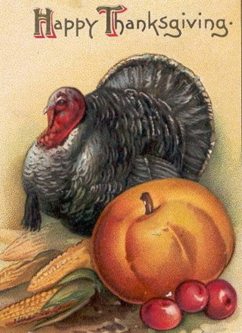 Vintage Thanksgiving Turkey Pumpkin Fruit Clipart