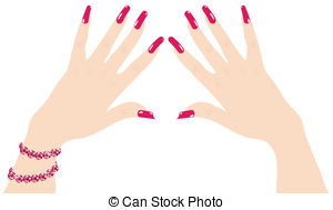 Woman Hands With Red Fingernails And Ruby Bracelet Clipart Vector