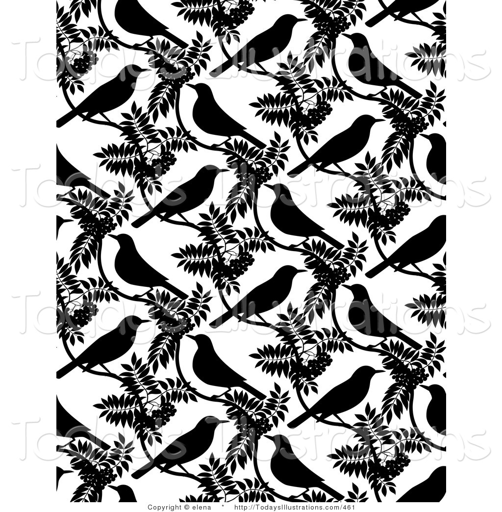 Background Of Black Birds And Leaves On White Black And White