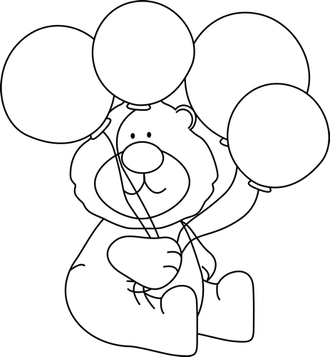 Balloon Clipart Black And White Bear With Balloons Black White Png