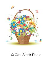 Basket With Flowers For Your Design Clipart Vector