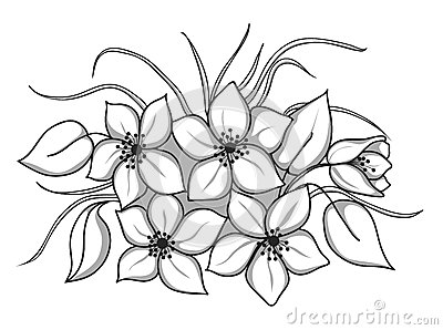 bunch of black and white flower clipart clipart suggest. Black Bedroom Furniture Sets. Home Design Ideas