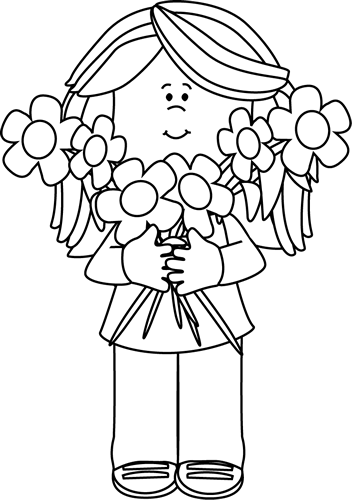 Bunch Of Flowers Black And White Clipart - Clipart Kid