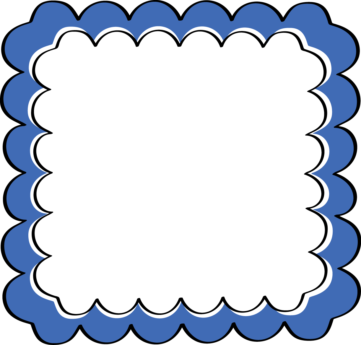 Blue scalloped frame free clipart panda free clipart images