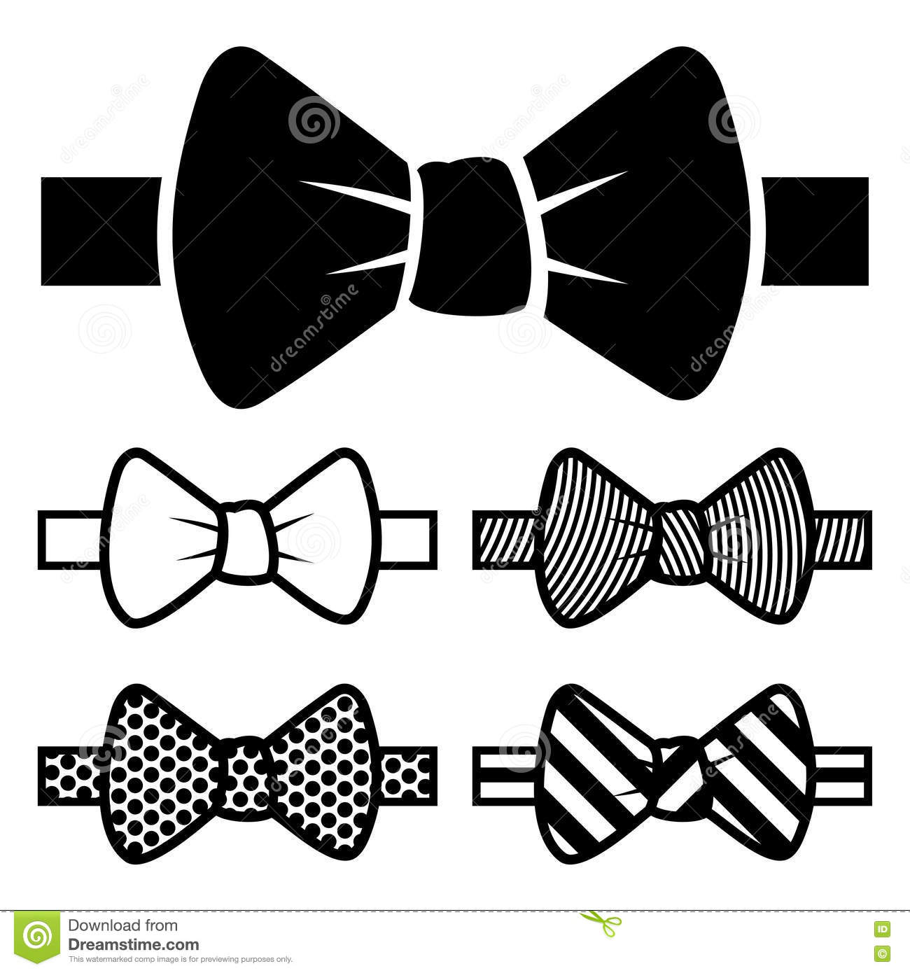 Bow Tie Black Icons Set On White Background  Vector