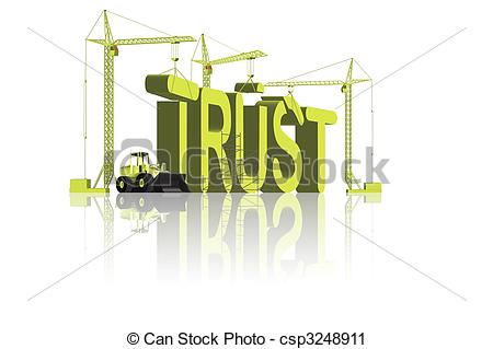 Clipart Of Trust Building   Cranes Building The Word Trust In Big 3d