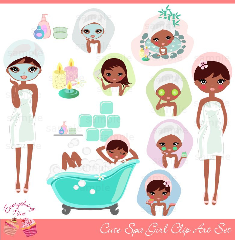 Clip Art Spa Clip Art little girl spa clipart kid cute afro clip art set by 1everythingnice on etsy