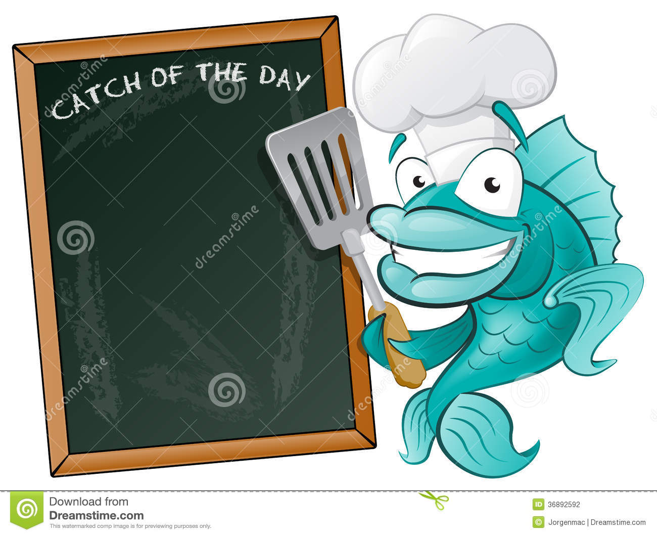 Cute Chef Fish With Spatula And Menu Board  Stock Photography   Image
