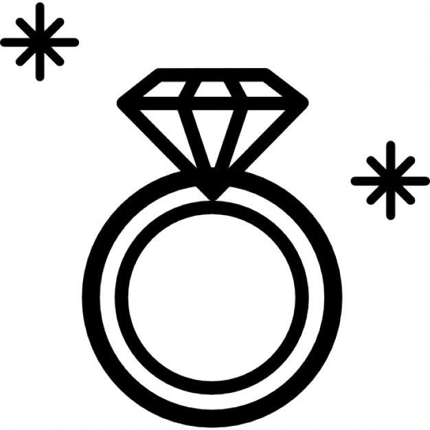 Diamond Ring Jewel Outline From Top View Icons   Free Download