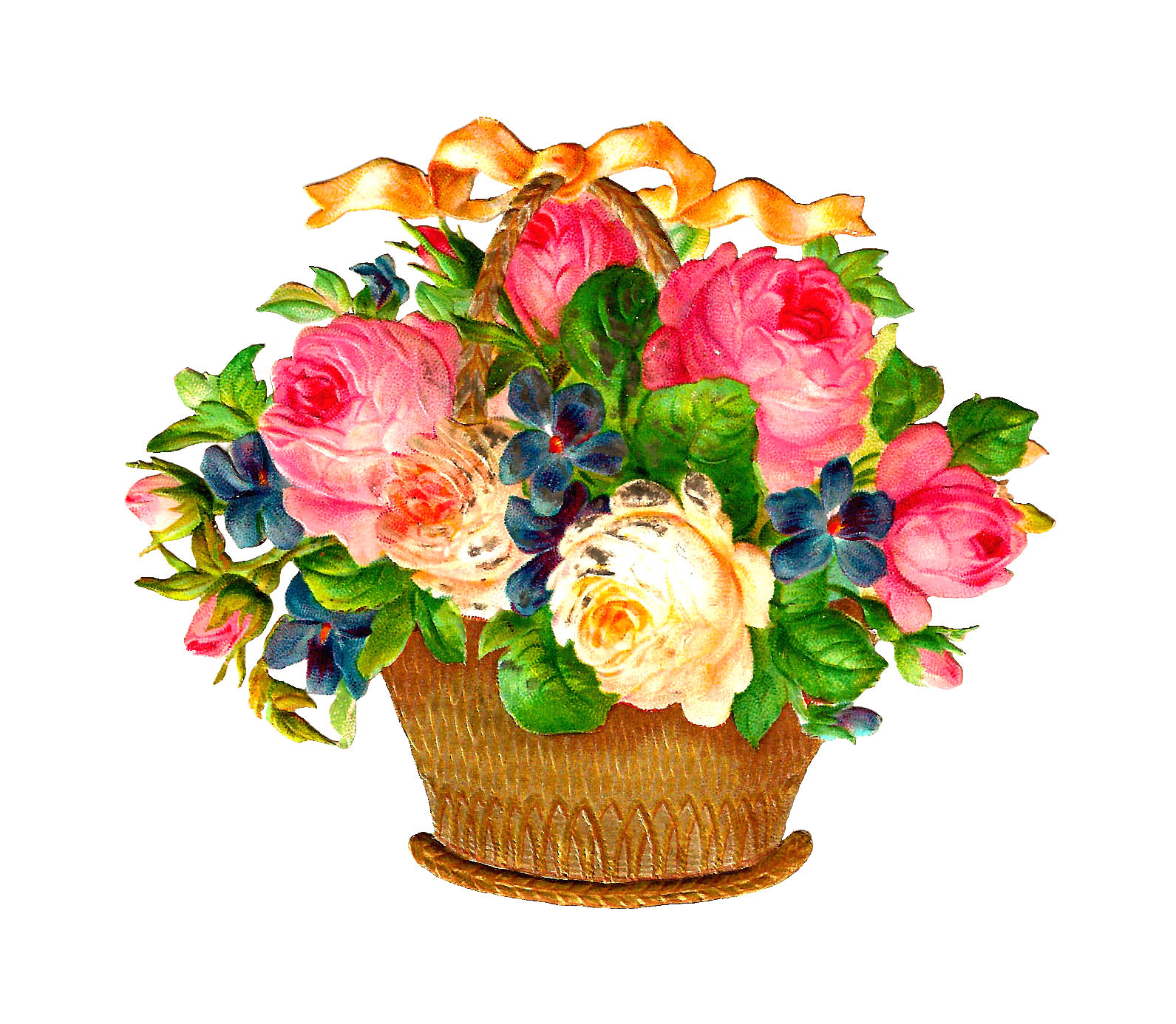 Free Flower Basket Graphic  Pink And White Roses And Flowers In