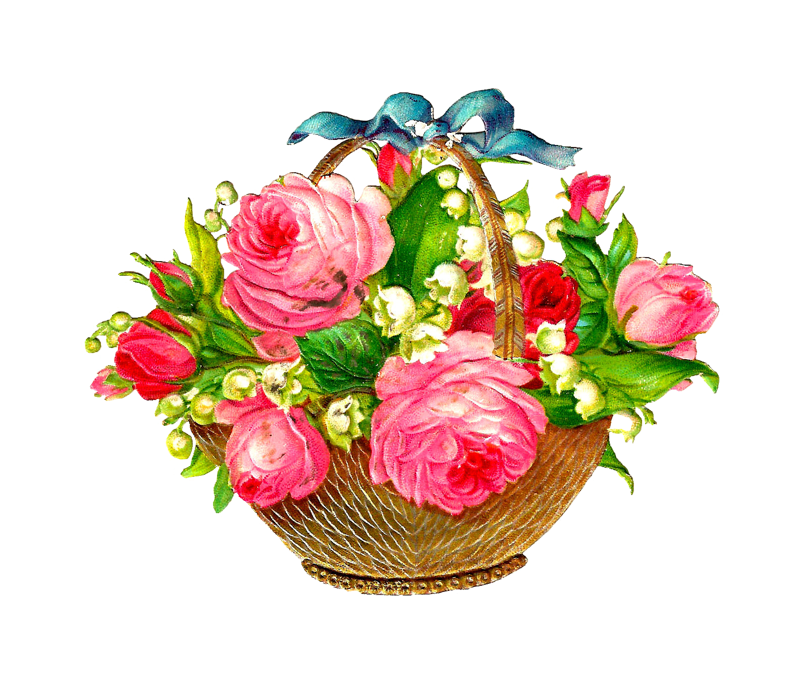Free Flower Basket Graphic  Pink Roses And Lily Of The Valley Flowers