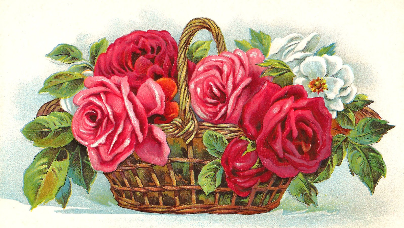 Free Red Rose Clip Art  Flower Basket Full Of Red Pink And White