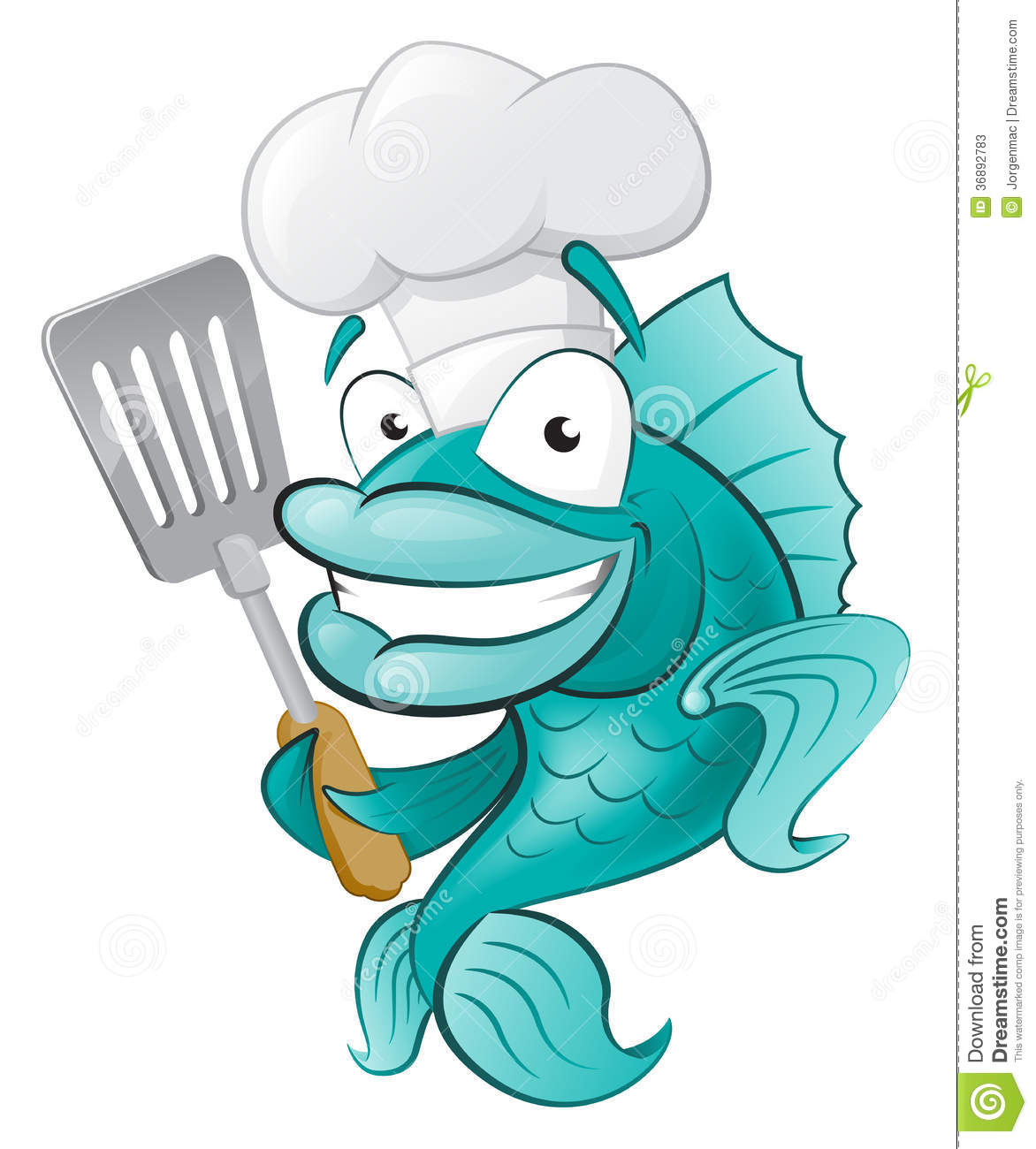 Great Illustration Of A Cute Cartoon Cod Fish Chef Holding A Frying