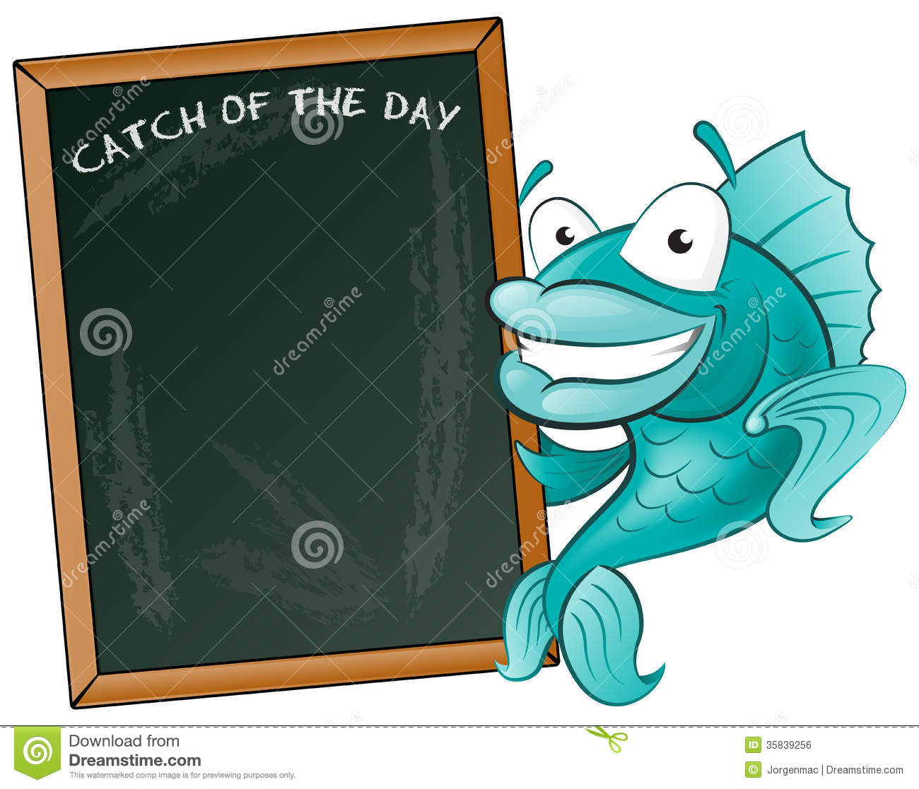 Great Illustration Of A Cute Cartoon Cod Fish Holding A Chalk Style