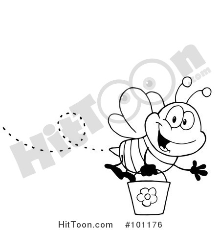 Outlined Happy Bee Flying With A Daisy Flower 1096142 also Graduation further Coloring Book Page Pg3 also All You You Need Is Love Free Printable moreover Bee Coloring Pages. on honey bucket