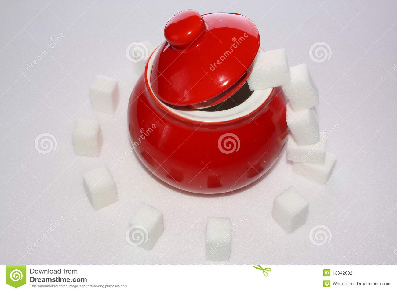 Lump Sugar And Red Sugar Bowl