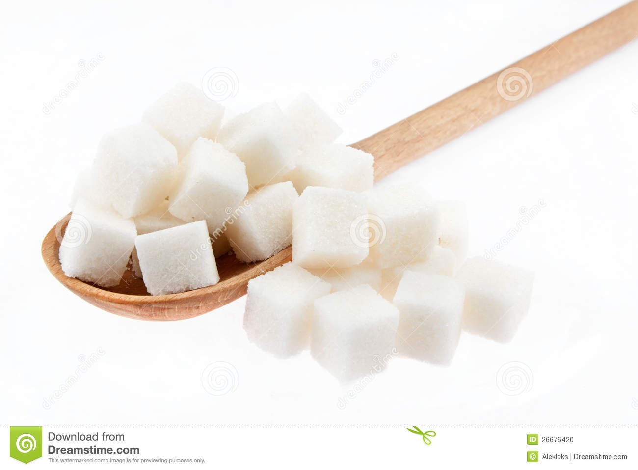 Lump Sugar Is In A Wooden Spoon Stock Photo   Image  26676420