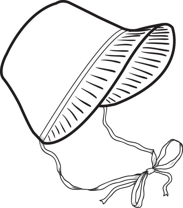 Clip art baby bonnet clipart clipart suggest for Ladies hat coloring pages