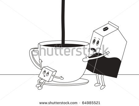 Sugar Lump And Milk Bottle Is Making Cup Of Tea Or Coffee Stock Vector