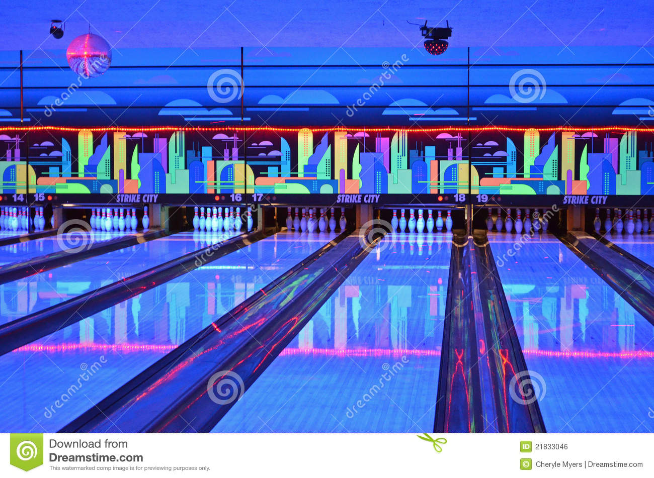 Bowling Alley Lanes During Cosmic Bowling Mr No Pr No 2 1356 4