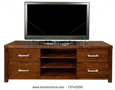 Brown Wooden Tv Cabinet With A Large Lcd Tv On It    Stock Photo