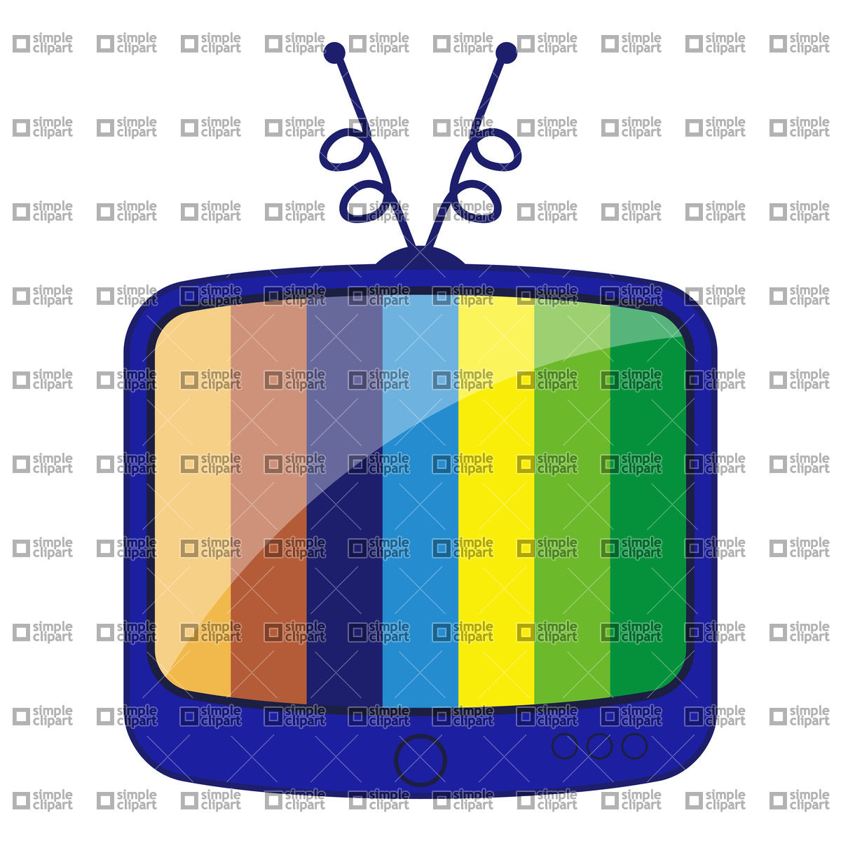 Cartoon Retro Tv With Striped Stand By Screen Vector Clipart  Eps