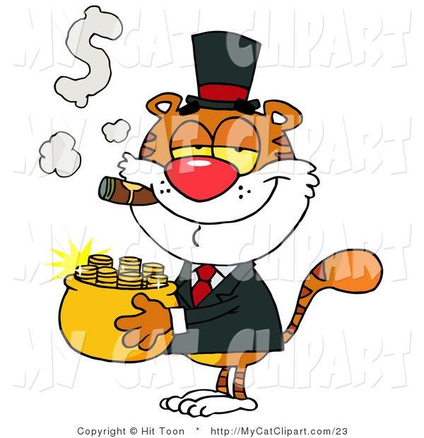 Clip Art Of A Smug Tiger Carrying Pot Gold And Smoking Cigar Clipart