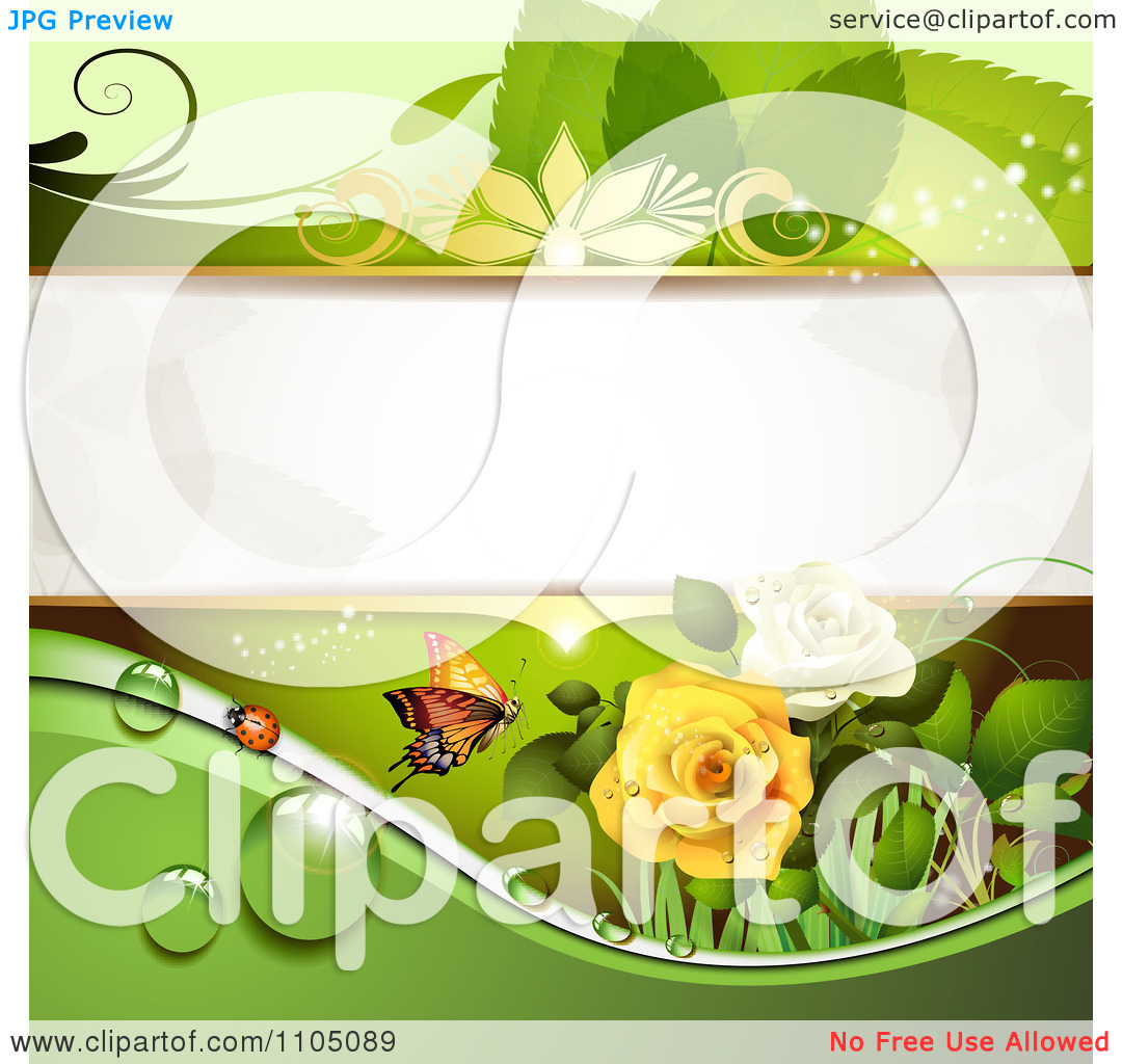 Clipart Green Leaf Background With A Ladybug Butterfly Dew And Roses