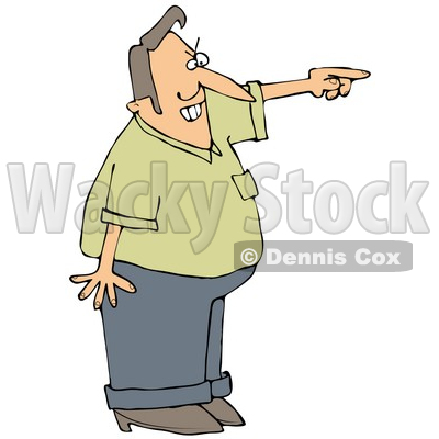 Clipart Illustration Of A Frustrated Man Pointing And Shouting And