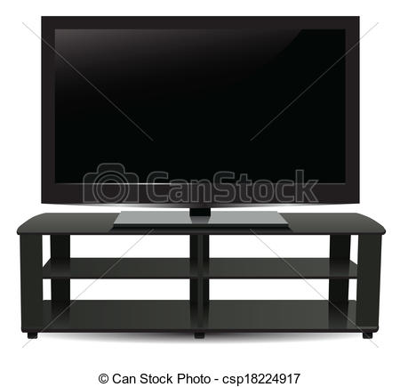 Clipart Of Stand With Modern Plasma Tv Vector Illustration Csp18224917