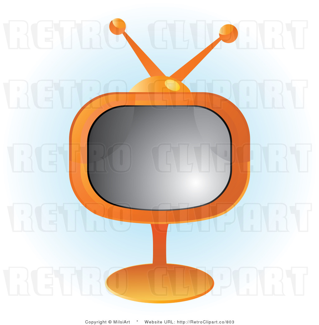 Illustration Of An Orange Tv On A Stand With Blue And White Background