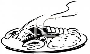 Lunch Clipart Black And White Black And White Lobster Dinner Royalty