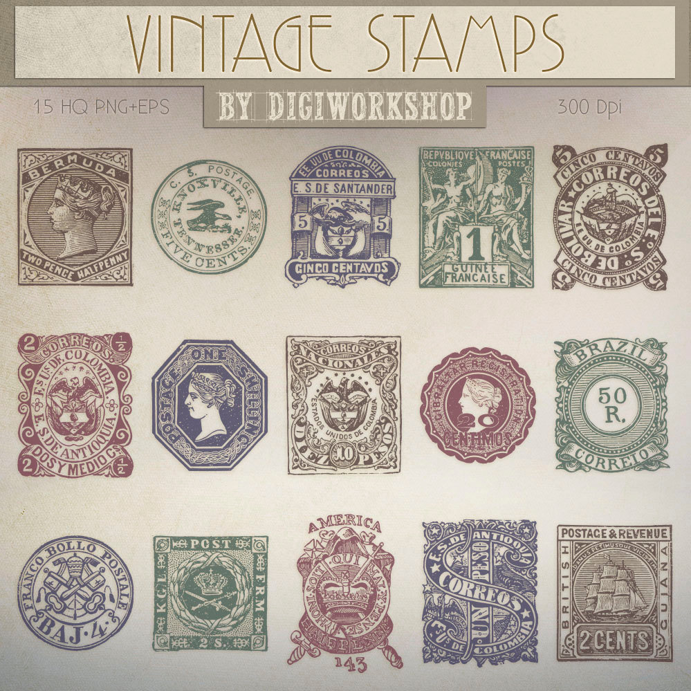 Postage Stamp Clip Art Clipart  Vintage Stamps By Digiworkshop
