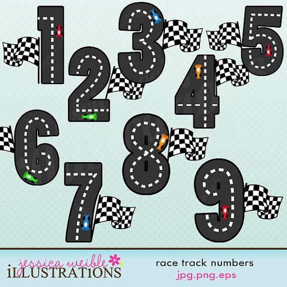 Race Track Numbers Cute Digital Clipart For Card Design Scrapbooking
