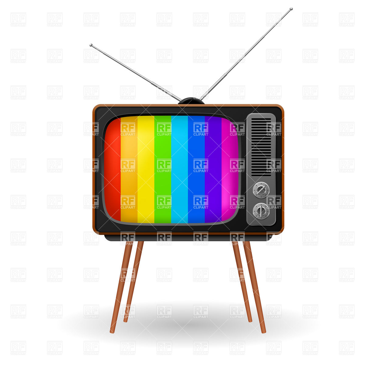 Retro Tv Set With Striped Stand By Screen Objects Download Royalty