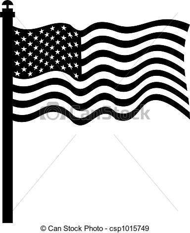 Stock Illustration Of American Flag   Isolated Black And White Drawing