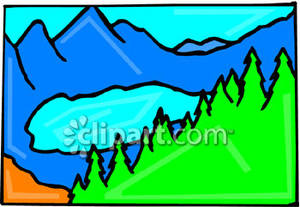 An Alpine Lake Surrounded By Trees   Royalty Free Clipart Picture
