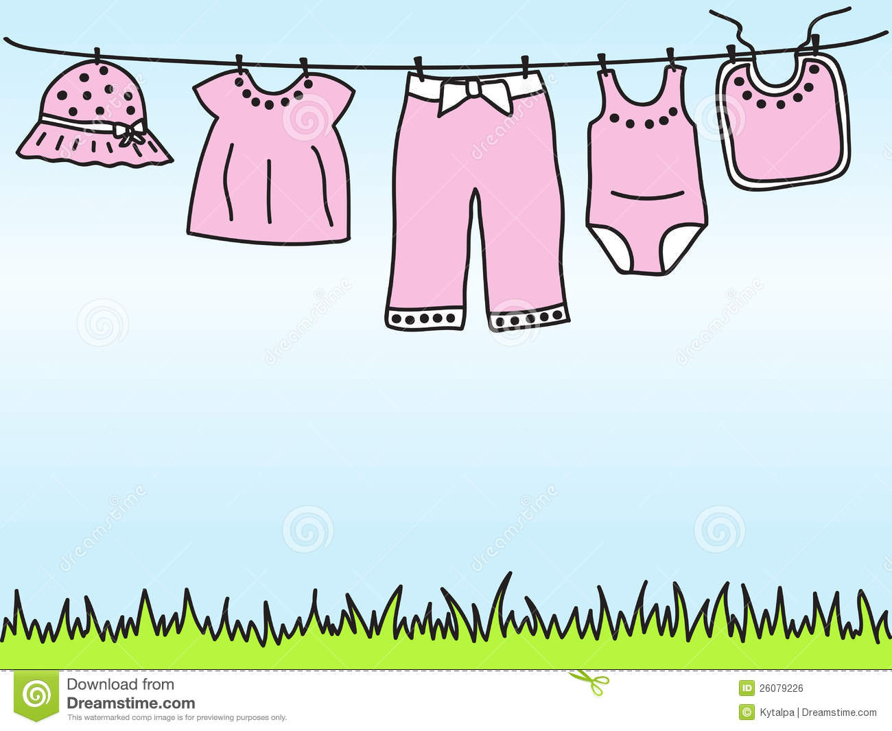 Baby Girl Clothes On Clothesline Royalty Free Stock Image   Image