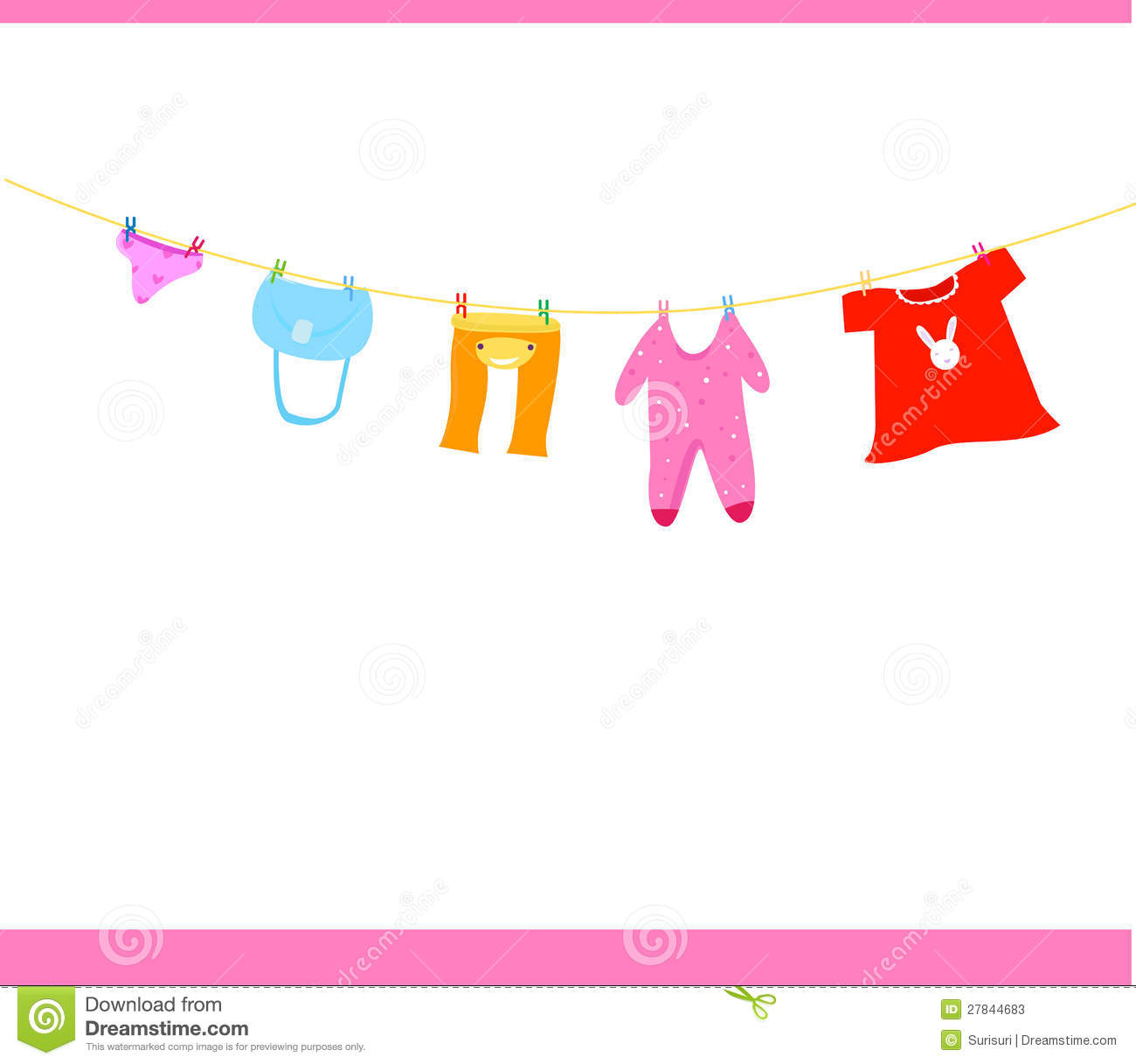 Baby Girl Clothesline Clipart Baby Clothes On A Clothesline