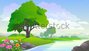 Beautiful Lake View And Trees Stock Vector   Clipart Me