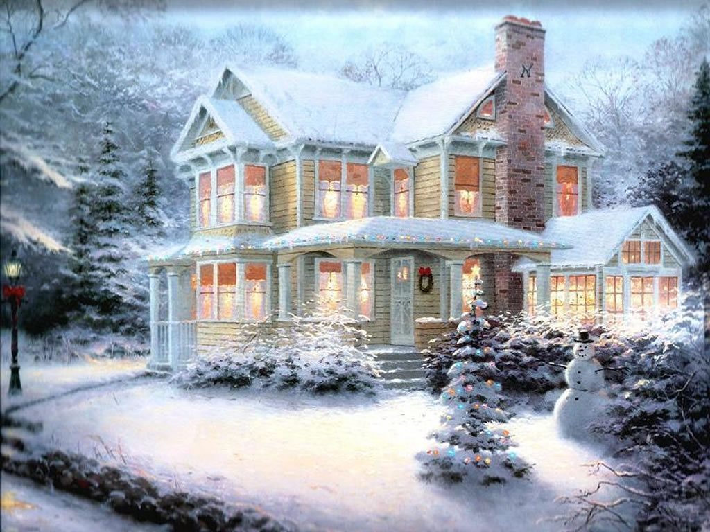 Christmas Art 05   Christmas Winter Scenes Wallpaper Image