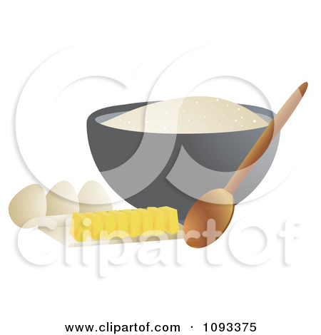 Clipart Bowl Of Flower Spoon Eggs And Sliced Butter Royalty Free