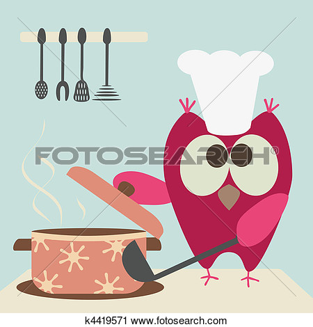 Clipart Of Cute Owl With A Bawl Cooking In The K4419571   Search Clip