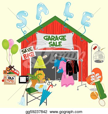 Garage Sale Or Yard Sale With All Sorts Of Items For Sale  Clipart