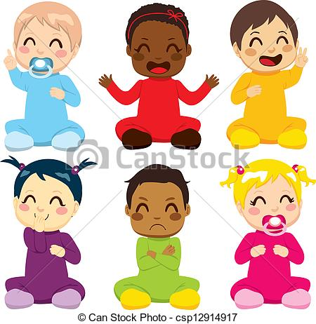 Group Of Six Children    Csp12914917   Search Clipart Illustration