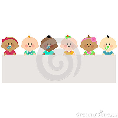 Happy Multicultural Group Of Babies Holding A Blank Horizontal