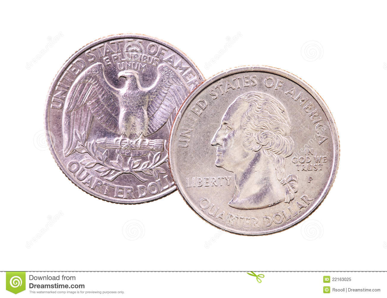 Lying One On Another The American Coins On Twenty Five Cents  It Is